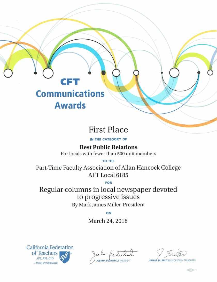1st Place 2017 CFT PR Campaign