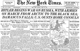 German Invasion of Russia June 22, 1941 NYT